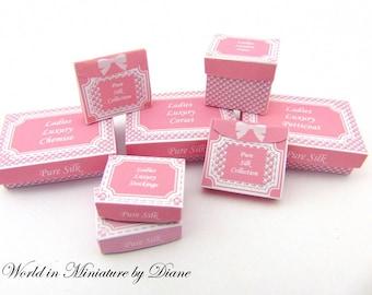 Dollhouse PDF Lingerie Boxes, Dollhouse Digital Download Boxes 1:12 Ladies Underwear Boxes Kit, Miniature Clothes Boxes, Pink Gift Boxes