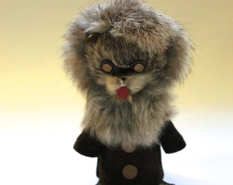 Vintage 1960's Fur Covered Animal Toy Doll! Made in Poland!