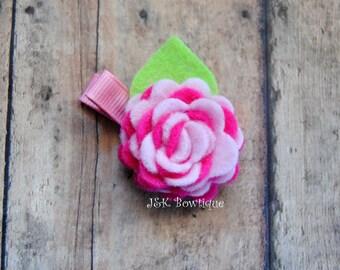 Felt flower  hair clip, felt flowers, pink and bright pink