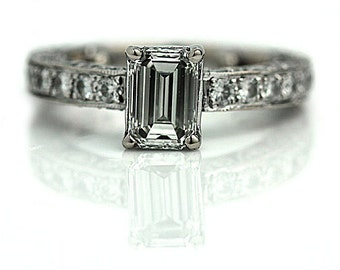Emerald Cut Engagement Ring 1.81ctw GIA Vintage Emerald Cut Engagement Ring 14K White Gold Pave Set Art Deco Style Engagement Ring Size 6!