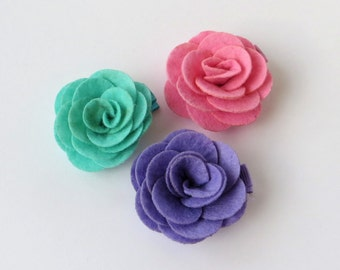 Felt Hair Clips for Girls, Felt Flower Clips, Felt Flower Hair Clip Baby Girl Hair Clips for Toddler Hair Clips, No Slip Hair Clips