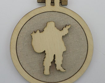 Christmas Santa Clauss - Laser cut embroidery hoop with quality textile