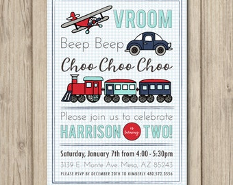 PLANES TRAINS and AUTOMOBILES Birthday Party Invitation, Transportation Birthday Invitation, Retro Transportation, Digital or Printed 5x7