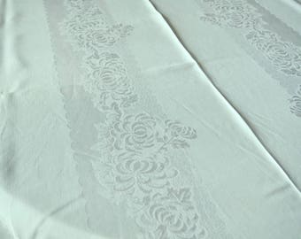 Damask Tablecloth Mint Green Extra Large Banquet Size Linen Vintage 56 X 96