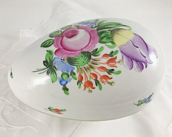 Large Footed Herend Covered Candy Dish Floral Porcelain Egg Shaped Box