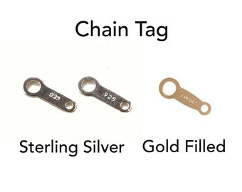 10pc, Sterling Silver or Gold Filled Chain Tag, 9.6x3.5mm, 8x2mm, sterling silver tag, sterling tag, gold filled tag, 925 tag, 14k tag