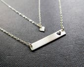 mother daughter jewelry, horizontal bar necklace with cutout heart, sterling silver, gift for mom