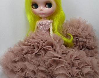 Blythe Outfit Clothing Cloth Fashion handcrafted beads lace tutu gown dress  45-8