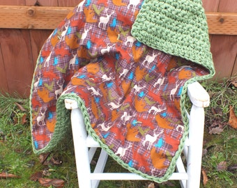 Hunting baby boy blanket woodland animal baby blanket crochet green blanket double sided blanket baby boy blanket deer blanket plaid blanket