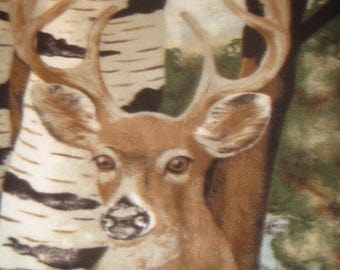 Deer in the Woods with Green Handmade Fleece Blanket - Ready to Ship Now