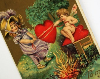 Pretty Antique Valentines POST CARD...Printed in Germany...Chromo Embossed...Cupid...Red Heart...Gorgeous