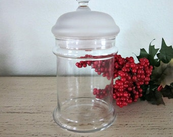 Vintage Clear Glass Apothecary Jar With Frosted Lid - Collectibles  -  Vanity Jar -  Bathroom Storage Jars - Button Jar - Display Jar