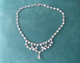 Art Deco festoon Necklace white crystals open back draped swag Choker collarette