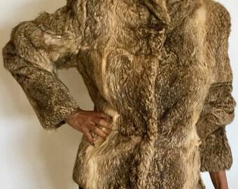 Cool Vinatge Split End LTD Rabbit Fur Short Lion Like Color Jacket(reduced)