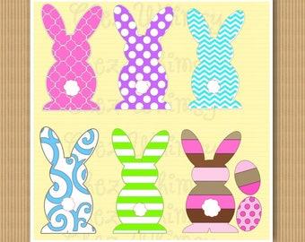 Bunny SVG, Polka Dot Bunny SVG, Chevron Bunny Svg, Easter Bunny Svg, Bunny Designs, Striped Bunny, Bunny with Eggs, Easter Eggs
