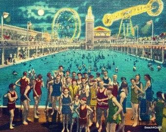 Steeplechase Swimming Pool Art, Beach House Art, Master Bedroom Art Beach House Wall Art Swimming Pool Decor Beach Bedroom Art Coney Island