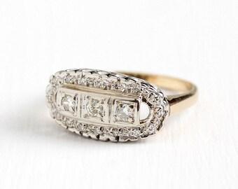 Vintage 14k Yellow & White Gold .31 CTW Diamond Halo Ring - Size 6 3/4 Art Deco 1940s Fine Engagement Bridal Triple Gemstone Cluster Jewelry