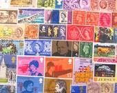 Bangers and Mash 50 Vintage Postage Stamps United Kingdom Great Britain England London Edinburgh British Monarchy Liverpool Manchester UK GB