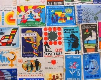Super Mod 50 Vintage Postage Stamps Psychedelic Pop Art Mad Men Midcentury Modern Contemporary Retro Design 60s 70s US Worldwide Philately