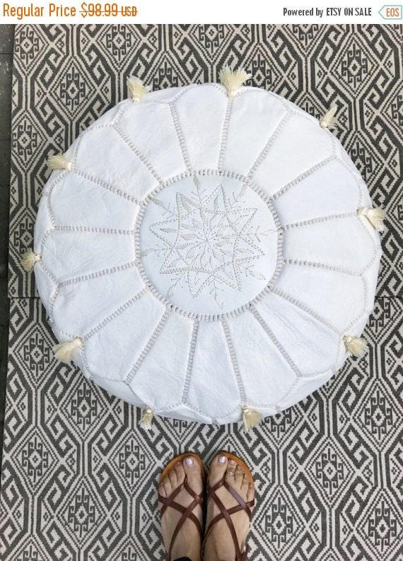 SPRING 30% OFF SALE /// White Moroccan Leather Pouf with Tassels & Pompoms >> for Home gifts, wedding gifts,birthday gifts, ottoman