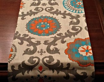 Back in Stock Table Runner for Holiday -Wedding- - Decor Orange Suzani Several Sizes