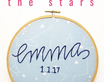 Nursery Wall Art Constellation Baby Name Embroidered Hoop. Personalized Baby Gift. Baby Shower Zodiac Celestial Nursery Baby Room Star Sign
