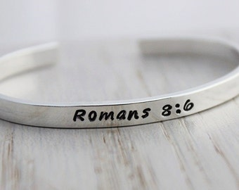 scripture jewelry • bible verse bracelet • stamped silver stacking layering cuff bracelet • motivational gift for her • inspirational