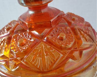 Imperial Carnival Glass a compote covered marigold hobstar
