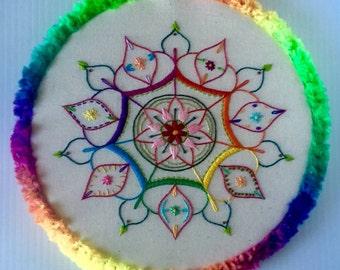 Rainbow Mandala Hand Embroidered Hoop Art