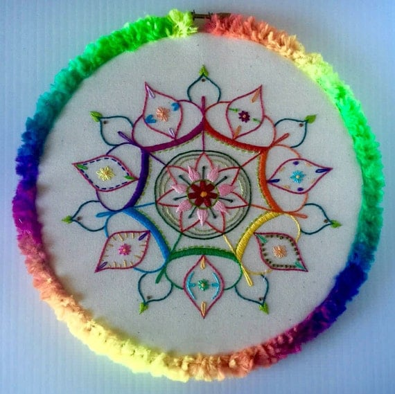 Rainbow Mandala Hand Embroidered Hoop Art, Colorful, Whimsical, Fuzzy, Hand Embroidered