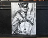 Hero in a Harness, lithograph crayon on cotton paper, 9x12 inches by Kenney Mencher