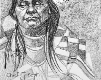 Chief Joseph, 11x14 inches artist's crayon on sketchbook paper by Kenney Mencher