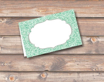 """Mint Glitter Place Cards Printable Food Tags or Placecards Light Green Sparkle Menu Place Card 3.5 x 2.25"""" Tent-Style - INSTANT DOWNLOAD"""