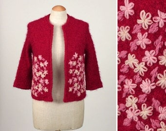 boucle wool vintage cardigan • adorable 190s embroidered fuzzy red jacket
