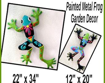 Save on Frog Art Combo, Frog Art Wall Hanging - Outdoor Garden Art - Painted Metal Art, Metal Wall Art, Metal Wall Decor, M703-TQ-OR -Combo2