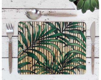 Tropical Palm Leaf Print Placemat Set of Four - Hawaiian Style Placemats - Tiki Placemats - Retro Bamboo Placemat Set - Topical Table Decor