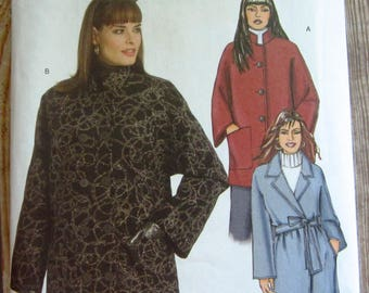 Very Easy to Sew Misses Loose-fitting Coat in Two Lengths and Belt Sizes XS S M Butterick Pattern B5093 UNCUT