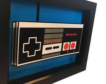 Video Game Art Nintendo Controller 3D Pop Art 1980s Print Artwork