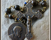 St. Joseph Heirloom Rosary Tenner in Bronzite & Lapis Lazuli,  Single Decade Pocket Rosary, Wire Wrapped in Bronze