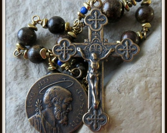 St. Joseph Heirloom Rosary in Bronzite & Lapis Lazuli, Wire Wrapped in Bronze