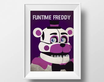 Five Nights at Freddy's Freddy Sister Location Funtime Freddy Inspired Printable Wall Art