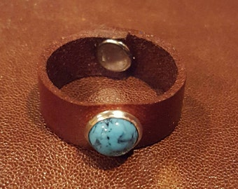 Leather Ring Turquoise Ring Leather Band Unisex Ring Custom Brown Leather