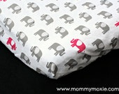 Fitted Crib Sheet/Changing Pad Cover/Mini Crib Sheet in Grey Hot Pink Elephants on White - by Mommy Moxie on Etsy