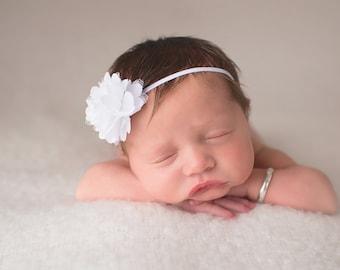White baby headband, mini flower headband, baby hair bow, infant headband, pink baby headband, mini satin flower headband,  YOU CHOOSE color