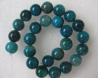 Beautiful Green Blue Veins Agate Smooth Round Beads 16mm
