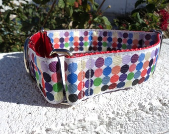 "Sale Large Dog Collar 1.5"" Martingale collar or Quick Release buckle Candy Dots - sizes S - XL"