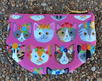 Pink Kitty Cat Zip Pouch