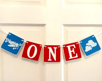ONE Birthday Banner, Baby Boy Birthday, first birthday, blue and red, airplane banner, time flies banner, cloud banner, plane