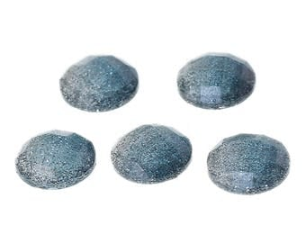 10 Resin Steel Grey Glitter Faceted Dome 8mm
