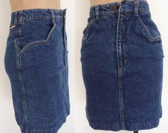 1980's Acid Wash Denim High Waisted Mini Skirt Size XXS Petite by Maeberry Vintage